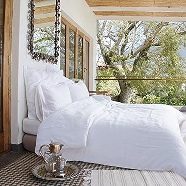 Merryfeel 100% Linen Duvet Cover Set - King White