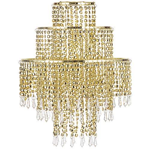 Waneway Kronleuchter Kristall Lampenschirm für Pendelleuchte, Deckenleuchte Schatten mit Acryl Juwelen Tröpfchen für Schlafzimmer, Wohnzimmer, Flur, Hochzeits oder Party, Durchmesser 32 cm, Gold