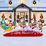 SEASONJOY 10 Ft Long Christmas Inflatable Santa on Sleigh with Three Reindeers,Built-in Color Changing Lights,Outdoor Inflatable Christmas Decor for Yard Lawn Garden
