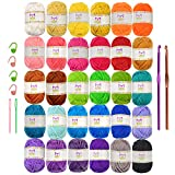 Mira Handcrafts 30 Acrylic Yarns – DK Yarn for Crochet and Knitting – 2 Crochet Hooks, 2 Plastic Needles, 4 Stich Markers, 7 Ebooks with Yarn Patterns Included – Perfect Craft Yarn