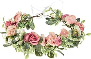 Vividsun Boho Flower Headband Floral Garland Crown Wedding Festival Party Headpiece (Small Pink Rose)