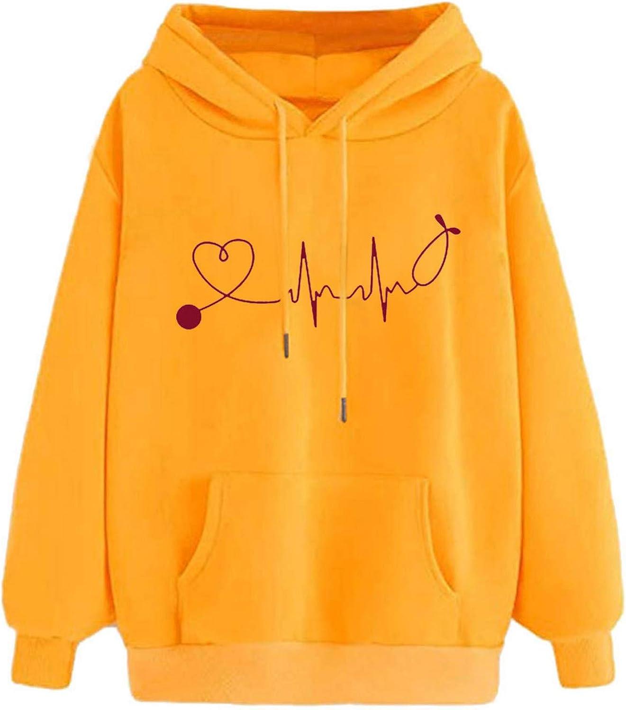 COOKI Hoodies for Women Teen Girls Columbus Mall Red Hooded Print Heart Ranking TOP9 Pullov
