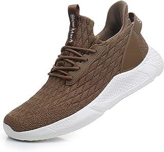 أحذية رياضية للرجال للجري جورب - أحذية رياضية شبكية مسامية ورباط مريح للصدمات