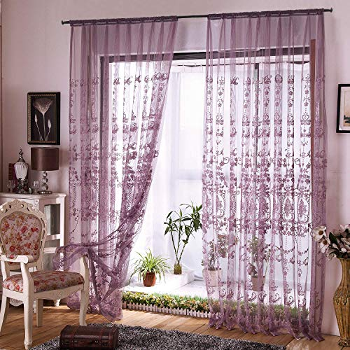 Aside Bside Victorian Design Sheer Curtain Luxurious Pattern Embroidered Rod Pocket Top Window Decoration for Living Room Bedroom and Office (1 Panel, W50 x L84 inch, Purple Bottom+Silver Embroidery)