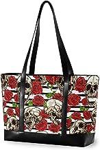 Laptoptasche für Damen, groß, Totenköpfe und rote Rosen, Segeltuch, Schultertasche, passend für 39,6 cm 15,6 Zoll, für Arbeit, Schule, Einkaufen, Outdoor-Aktivitäten
