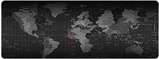 روبيك XXL لوحة ماوس الكمبيوتر الألعاب تصميم خريطة العالم سوبر كبيرة المطاط وسادة ماوس 40 سم × 90 سم أسود، 1 قطعة