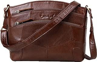 Genuine Leather Triple Zip Pocket Purse Crossbody Zipper Shoulder Bag for Lady