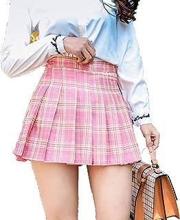 Women Girls Short High Waist Plaid Skirt Pleated Skirt School Uniforms