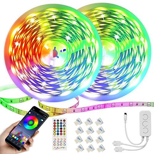 30M Led Streifen,Dimmbar RGB LED Band,Ultralang Bluetooth LED Strip 5050 Smart LED Lichtband Selbstklebend LED Lichtleiste Sync zur Musik,Über APP-Steuerung und Fernbedienung Für Haus,Garten(2 * 15M)