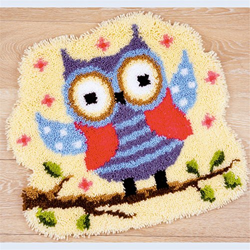 8 Modell Eule Knüpfteppich Formteppich für Kinder und Erwachsene zum Selber Knüpfen Teppich Latch Hook Kit child Rug Animal 019 50 by 40 cm