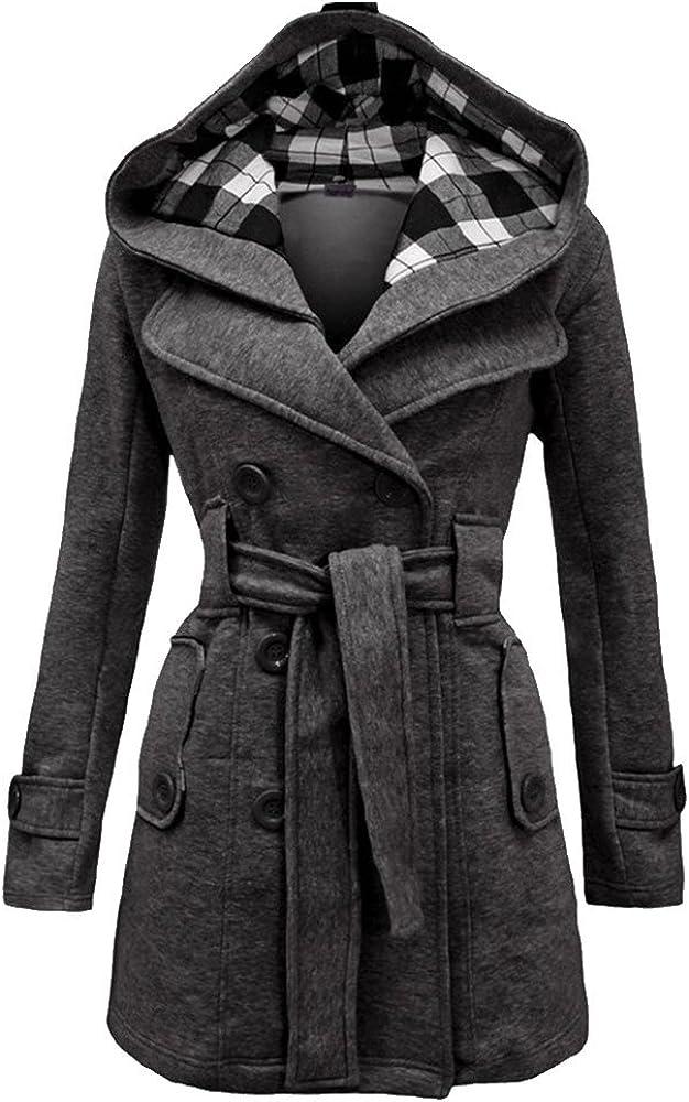 LINGMIN Max 51% OFF Women's Fleece Check Hooded Pea Coat Breas Winter Double New Free Shipping