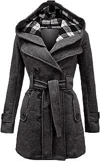 LINGMIN Women's Fleece Check Hooded Pea Coat Winter Double Breast Belted Wool Jacket