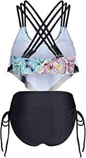 Women Two Piece Swimsuit High Waist, Ladies Floral Printed Tankini Swimwear Push up