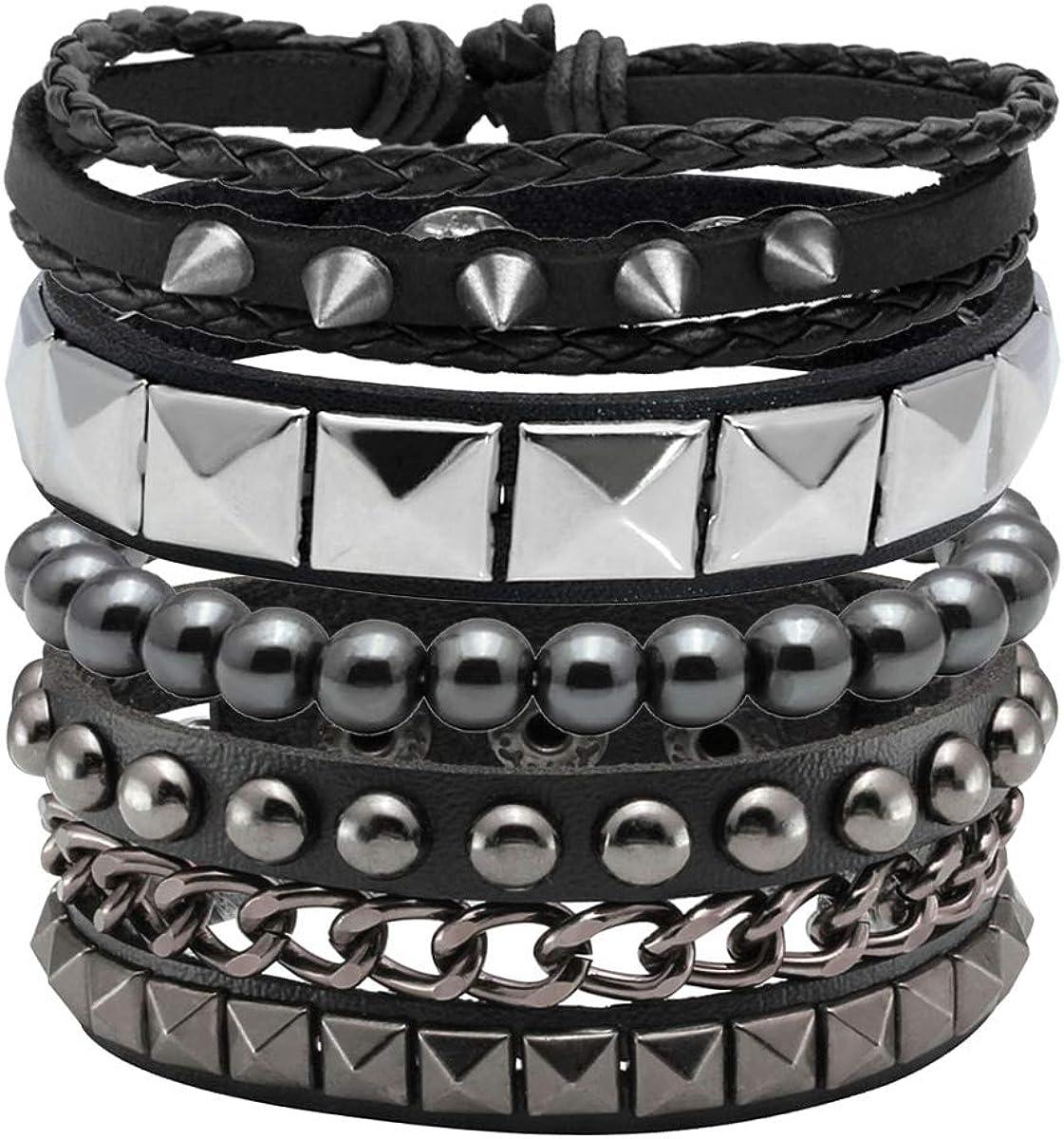 Eigso Black Leather Bracelet for Men Women Adjustable Hematite Punk Spike Metal Cuff Bangle