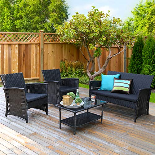 æ— Rattan Sofa, Outdoor Patio Rattan Sectional Sofa and Coffee Table Patio Furniture Set