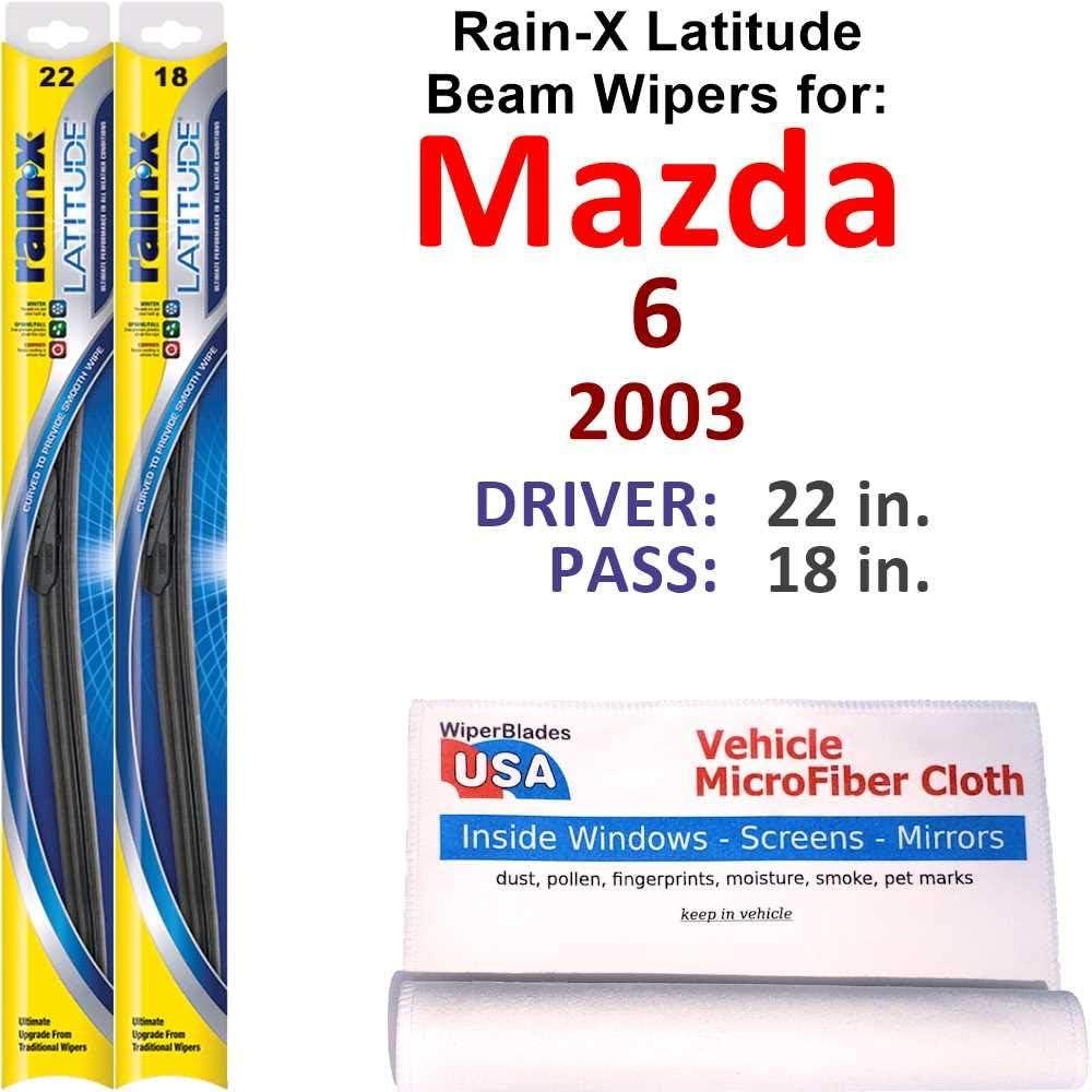 Rain-X Latitude Beam Wiper Blades Max 69% OFF for Mazda La 2003 Sales 6 Set