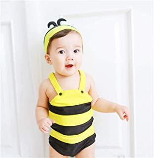 Little Girls Baby Bee Swimsuit One Piece Summer Sleeveless Beach Beachwear Outfit with Hat 2 pcs