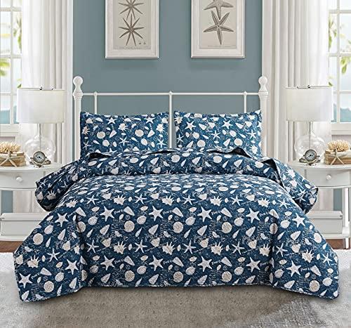 Juego de edredón de 3 piezas para verano costero fino, ropa de cama, colcha náutica de playa, juego de cama de 3 piezas, diseño de estrellas de mar, estampado sobre fondo azul real (azul, tamaño King)
