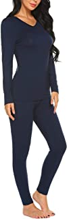 Ekouaer Women's Soft Thermal Underwear Set Winter Base Layering Top & Bottom