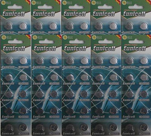 Eunicell AG10 Knopfzellen LR54 / LR1130 / L1131 / SR1130W / 389 / G10, 100Stück
