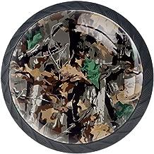 caj/ón 4 unidades pomos de armario con tornillos para el hogar armario Pomo de caj/ón con dise/ño de flores y pavo real con forma de c/írculo de cristal para armario COOSUN oficina