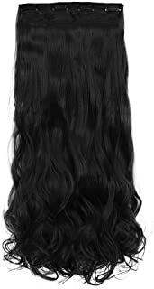"""REECHO 24"""" Curly Wavy 4 Pieces Set Clip in Hair Extensions Natural Black"""