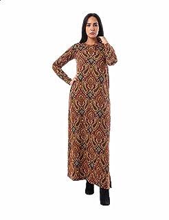فستان ماكسي قطن باكمام طويلة ونقشة بيزلي بفتحات جانبية للنساء من جميلة