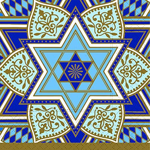 Decorative Paper Napkins Disposable 5' x 5' Cocktail Napkins Rosh Hashanah, Hanukkah, Wedding Reception, Bar Mitzvah Party Napkins Blue Stars Beverage Napkins Pak 40