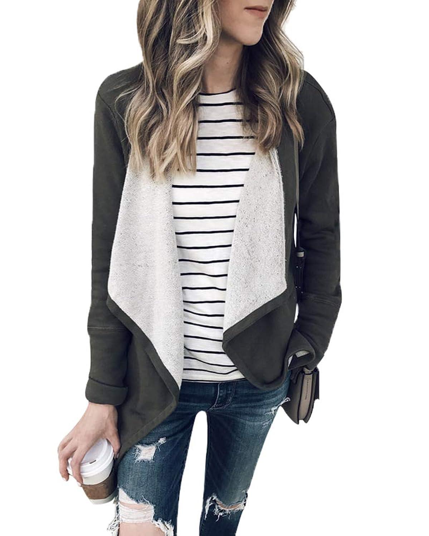 女性のファッション長袖ドレープオープンフロントアウターウェアジャケットコート秋冬