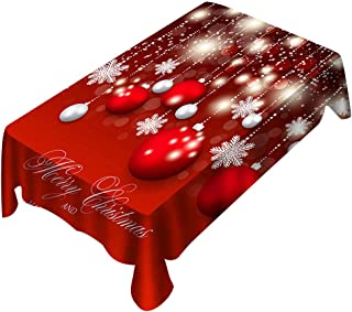 Gpure Mantel Navidad Antimanchas Impermeable para Decoracion Comedor Mesa Rectangular Bolas de Navideño Rojo Regalo Dibujos Tela Cojin Individuales para Casa Interior Cocina