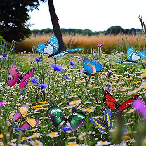 24Stk Schmetterlinge Deko Garten Ornamente, Bunte Schmetterlinge Blumenstecker für Grab / Pflanze / Hof / Garten Sommerhäuser / Party Dekoration, Feen Garten Zubehör