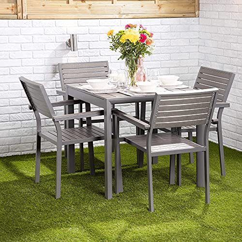Garden Dining Set 4 Seater - Outdoor Tables and Chairs Set | Aluminium Frame, Rust Resistant Slats | Choice of Table with Slatted Chairs (Square Table with Four Slatted Chairs)