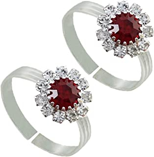 Pcm Toe Ring :Red CZ 92.5 Sterling Silver Plated Flower Shap Toe Ring For Women