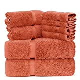 Towel Bazaar Luxury Hotel and Spa Quality Dobby Border 100% Turkish Cotton Eco-Friendly and Highly Absorbent Towel Set (Set of 8, Coral)