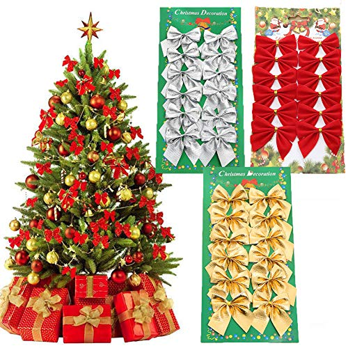 NXX 36 Pack Mini Christmas Tree Bows 56 Cmchristmas Tree Topper Bow Ornaments for Christmas Tree Hanging Decoration (3 Colors)
