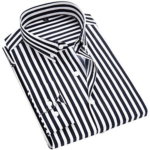 DOKKIA Men's Casual Long Sleeve Vertical Striped Slim Fit Dress Shirts (Dark Blue White, Large)