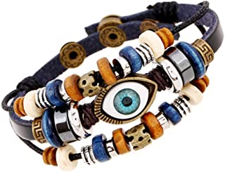 OYEFLY Vintage Eye Multilayer Leather Bohemia Bracelet Beaded Hand Woven Leather Bracelet Fashion Jewelry for Men and Wome...