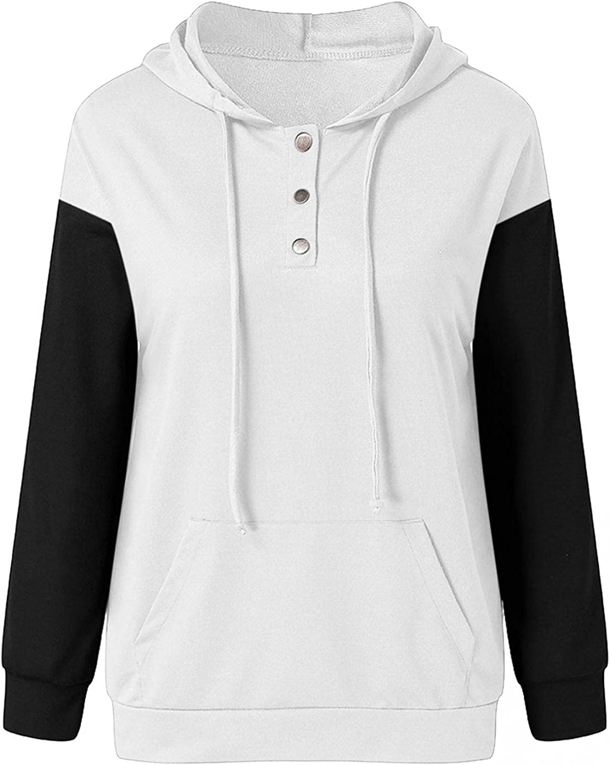 felwors Hoodies for Women, Womens Pullover Hoodies Loose Button Down Color Block Long Sleeve Sweatshirts with Pockets