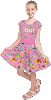 Little & Big Girl's Cute Fashion Frizzle & Floral Dinosaur Kids Short Sleeve Dress, Size:2-16