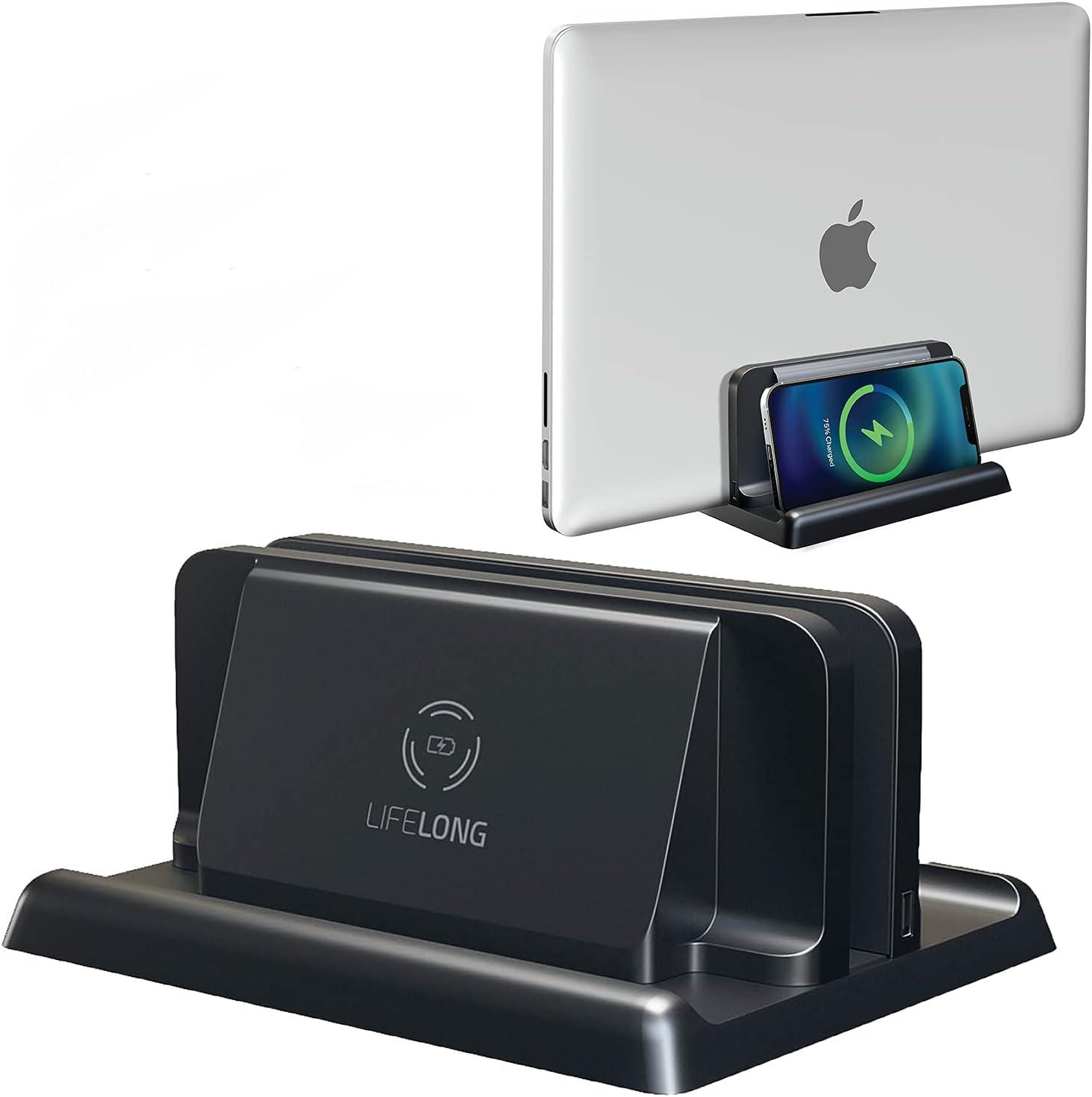 Vertical Laptop Choice Holder Desk Dock Over item handling Wireless Phone Charging