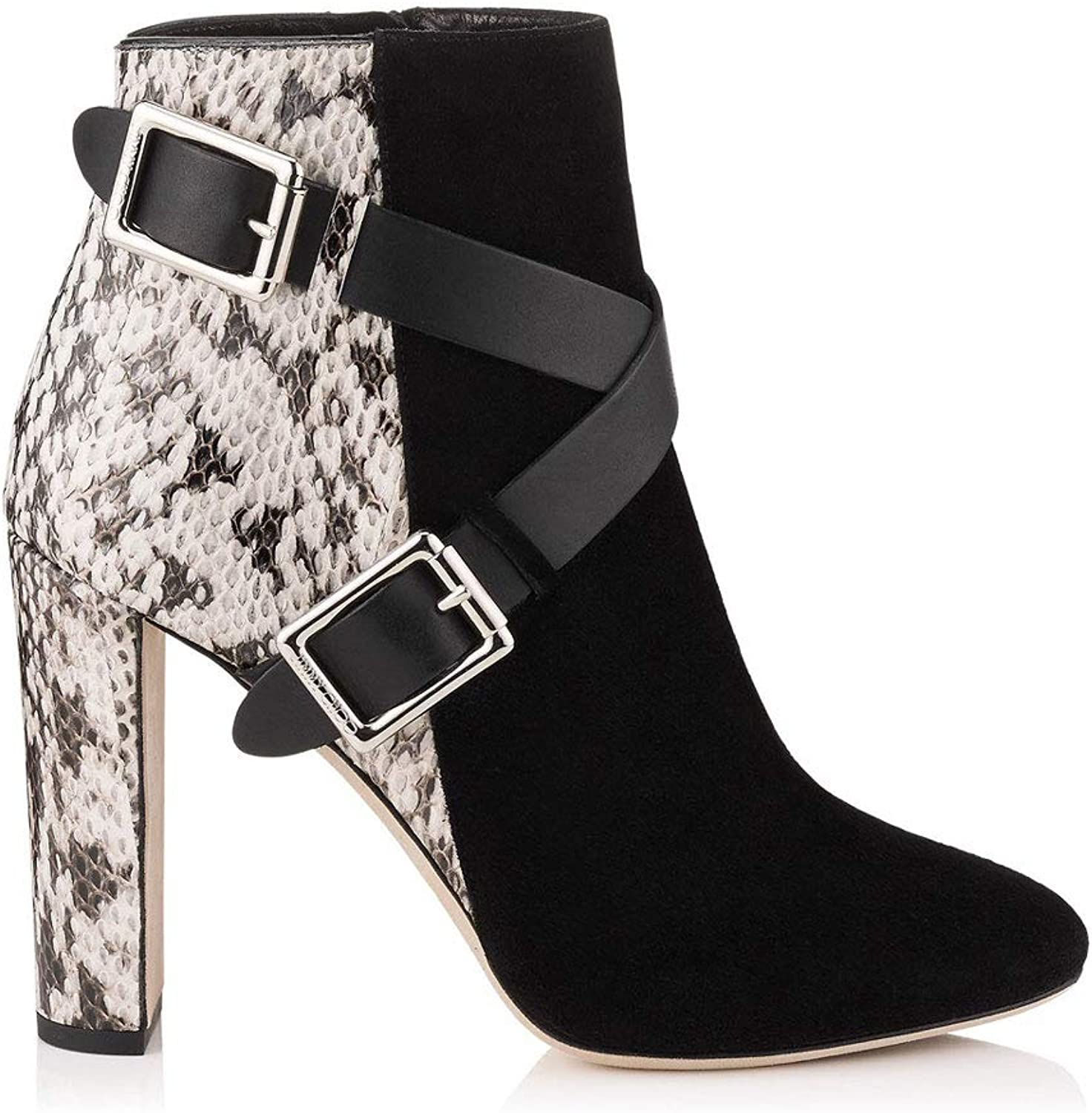 Women's High Heel Ankle Boots Cross Strap Metal Buckle Thick with Short Boots Round Head Side Zipper Stripe Chelsea Boots