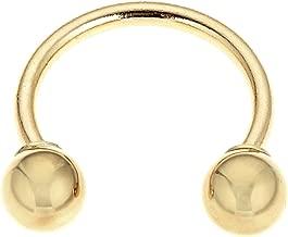 Ritastephens 14k Solid Gold Eyebrow Nipple Circular Barbell HorseShoe Body Jewelry 14g