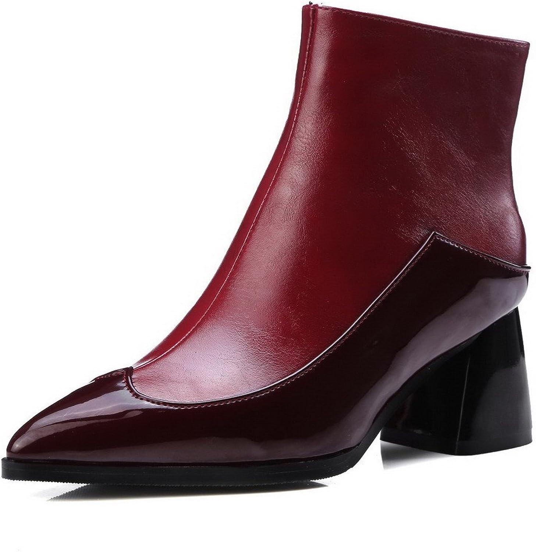 WeenFashion Women's Kitten-Heels Soft Material Low-Top Assorted color Zipper Boots