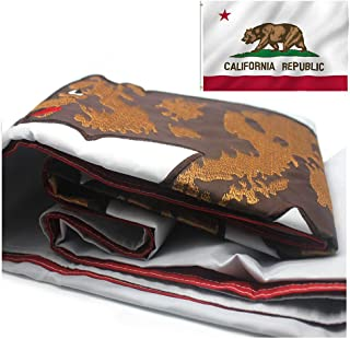 VSVO California Republic Bear State Flag 3 x 5 ft with 2-Sided Embroidered Durable 300D Nylon for Outdoor Use - UV Protection - CA State Flags.