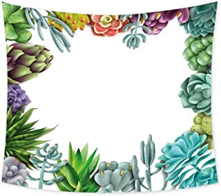 Luoiaax Succulent Cute Tapestry for Men Frame with Various Succulent Plants Collection Vivid Garden Tropical Nature Image Living Room Wall Decor for Bedroom W62.8 x L62.8 Inch Multicolor