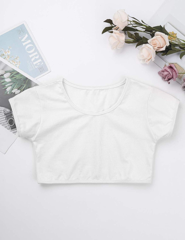 JEATHA Kids Girls Short Sleeves Crop Top Running Yoga Gymnastic Sports Workout T-Shirt Active Sportswear