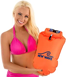 New Wave Swim Buoy - Swim Safety 20L Orange PVC Float with Drybag for Open Water Swimmers Triathletes Kayakers Snorkelers,...
