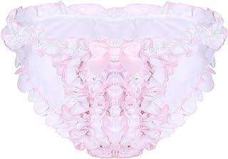 LiiYii Men's Sissy Crossdressing Panties Ruffled Floral Lace Trim Bikini Briefs Underwear