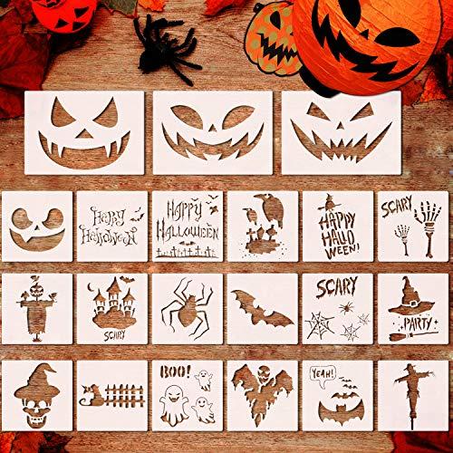 21 plantillas de plástico para pintura de Halloween, reutilizables, diseño de calabaza y aerógrafo para manualidades, manualidades, pintura, pintura, ventana, vidrio, madera, galleta y arte de pared