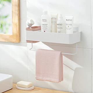 MORNITE 粘着バスルーム壁キャディ バスルームシャワー 吊り棚 ドリル不要 シャンプーホルダー ピンク